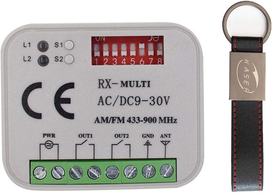 RX Multi Receptor Universal 2 Canales Radio Receptor para Faac Nice BFT Came Multimarca Frecuencia 433-868 Mhz 12-30V AC DC Código Fijo Y Rolling Code Control Remoto Automatización Puerta de Garaje
