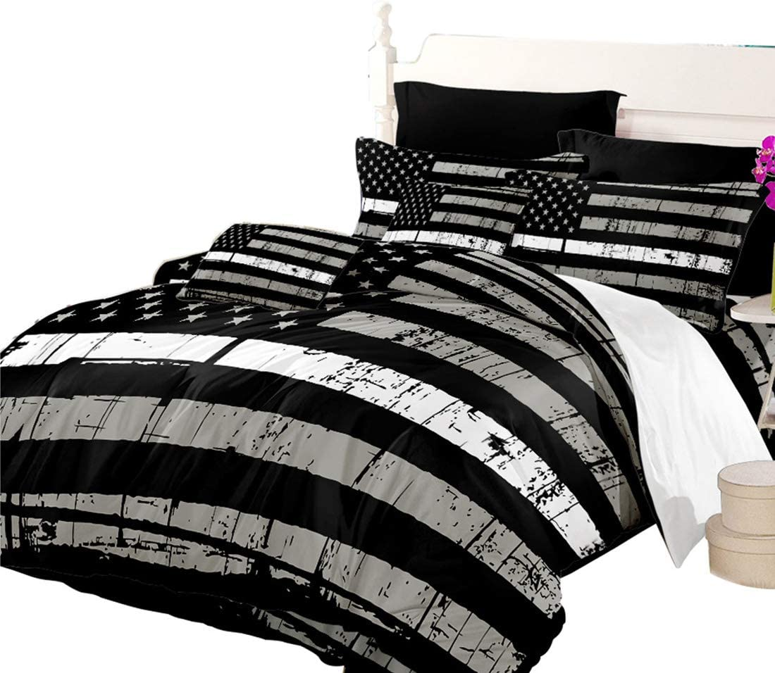 Oliven American Flag Quilt Cover Twin Size Valor Patriot Theme Digital Duvet Cover 2 Piece Bedding Set,Black White Gray