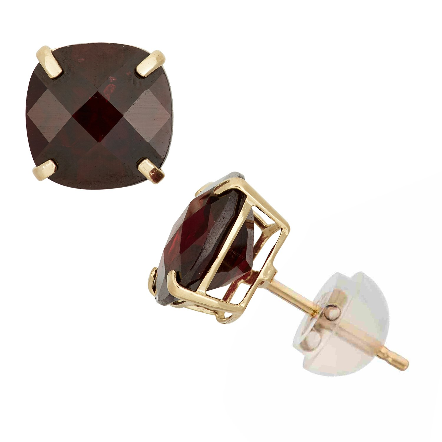 Garnet Cushion-Cut Stud Earrings in 10K Yellow Gold, 8x8mm, Comfort Fit