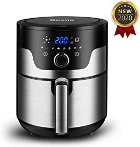 Besile Air Fryer 3.7 Quart,1500-Watts Stainless Steel Hot Air Fryer, LED Digital Knob Controls,8 Preset Cook Modes,Nonstick Basket