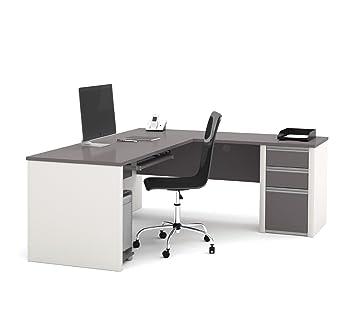 bestar connexion l shaped workstation with 1 pedestal