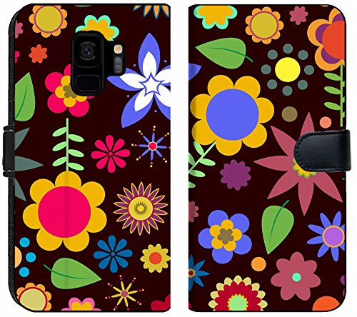 (Liili Premium Samsung Galaxy S9 Flip Micro Fabric Wallet Case Multicolored Funky Flowers Abstract Pattern on Black Background Image ID 9960080)