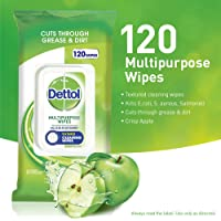 Dettol Multi-Purpose Cleanser Wipes, Crisp Apple, Count of 120