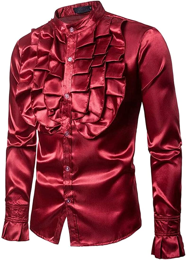 Jotebriyo Men Long Sleeve Party Perform Button Down Solid Color Ruffle Stand Collar Shirt