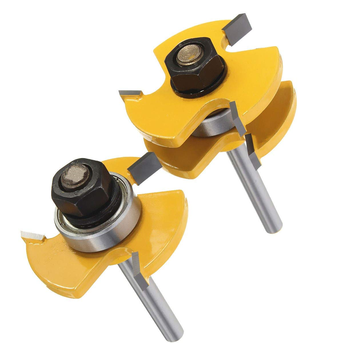 Nxtop Set of 2 Pieces 1/4-Inch Shank Matched Tongue and Groove Router Bit Set
