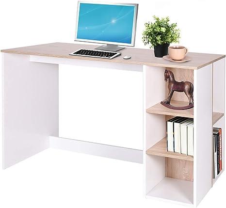 Coavas Escritorio de Estudio Juvenil Reversible Mesa para Ordenador con Estantería Lateral Abierta Bicolor Blanco y Haya (75 x59.5x120cm)