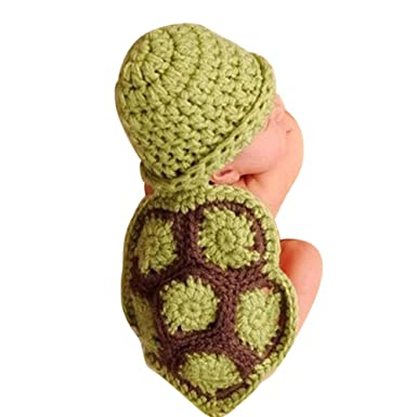 VEKDONE Baby Girl Boy Newborn Turtle Knit Crochet Clothes Beanie Hat Outfit Photo Props