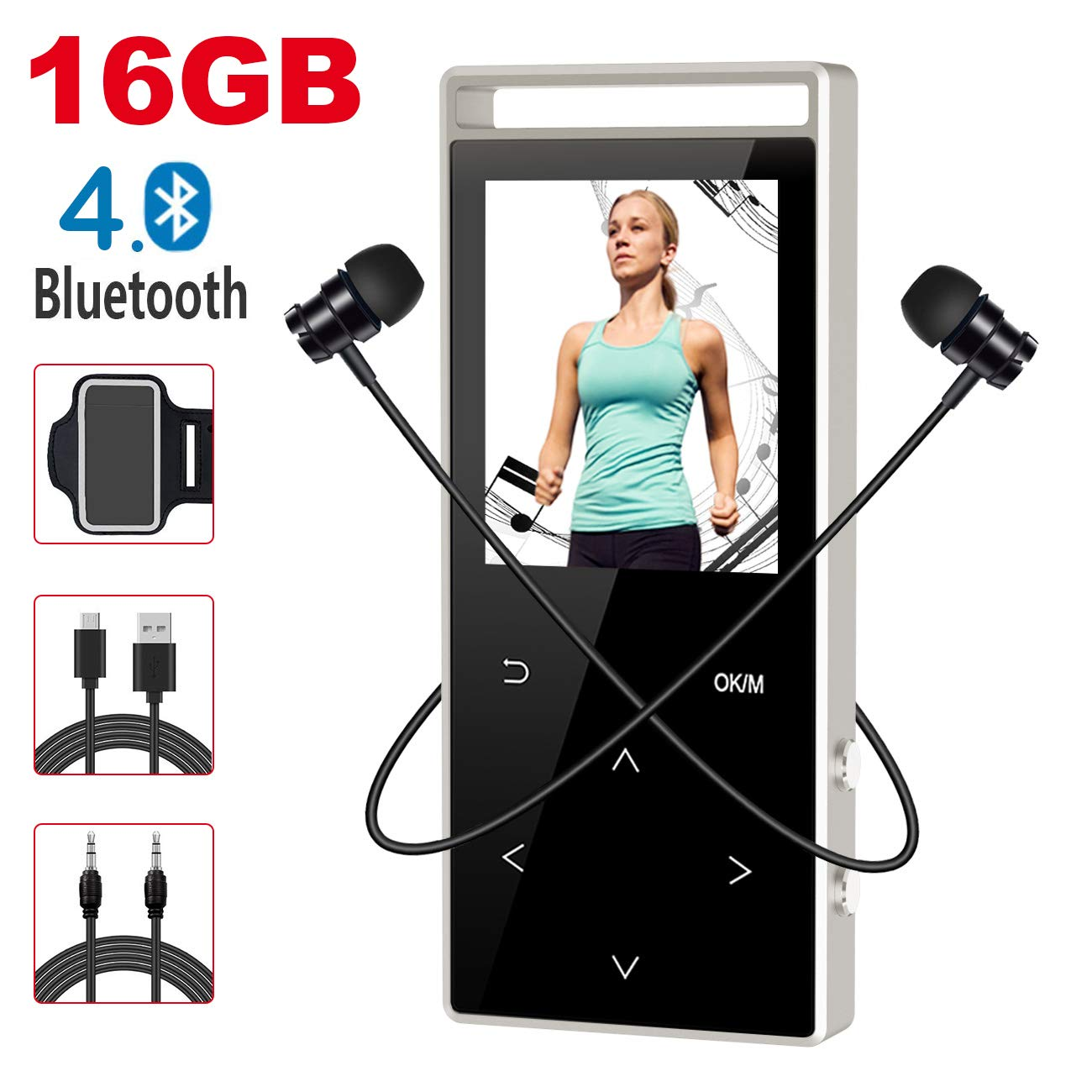 MP3 Player with Bluetooth,Digihero 16GB mp3 Player with FM Radio/Voice Recorder/Pedometer, Lossless Sound,60Hours Playback,HD Sound Quality Earphone, with Earphone Armband for Sport Running