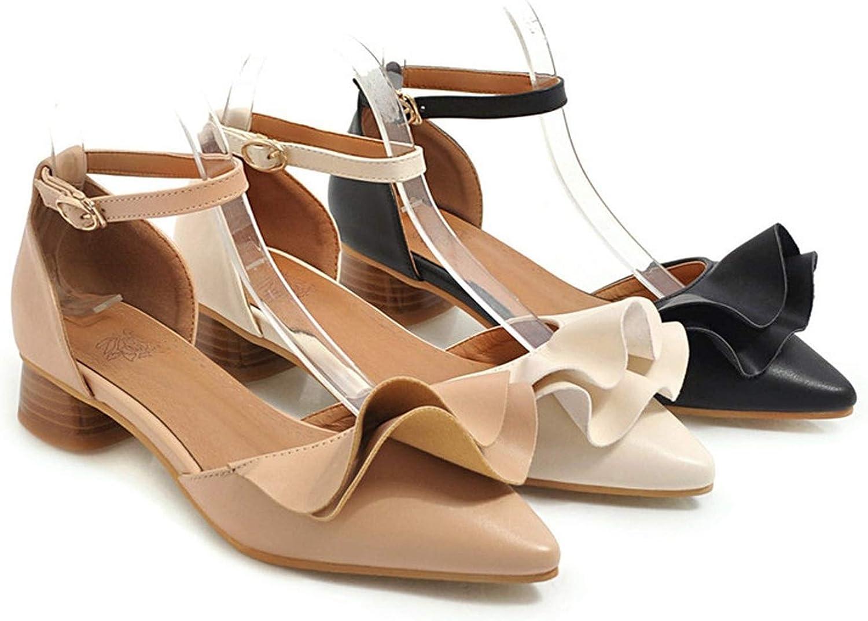 2019 Pumps Women Shoes Pointed Toe Buckle Summer Shoes Elegant Sweet Square Heels Ladies Shoes,Black,4
