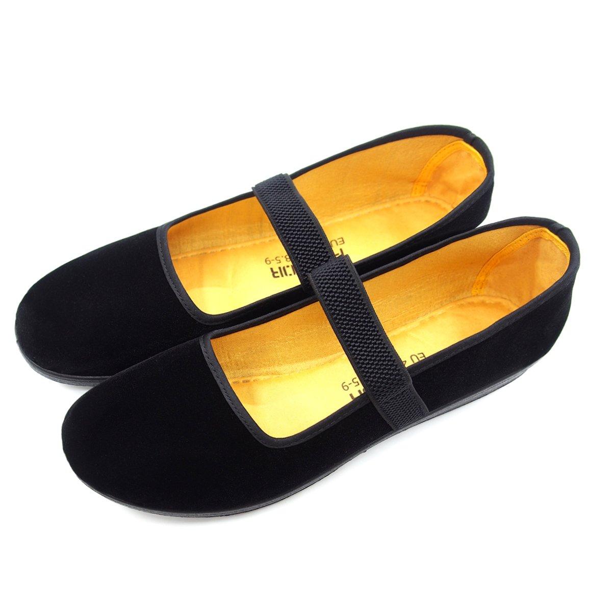 pestor Women's Velvet Mary Jane Shoes Ballerina Ballet Flats Yoga Exercise Dance Shoes (EU 37| US 6.5, Black-Elastic)