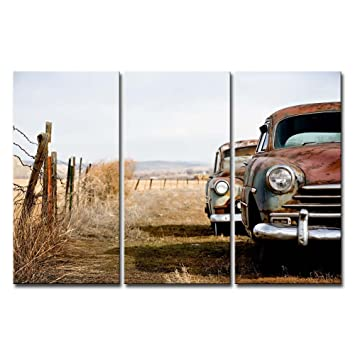 Amazon De 3 Panel Braun Art Wand Gemalde Alte Auto Abandon Fahrzeug