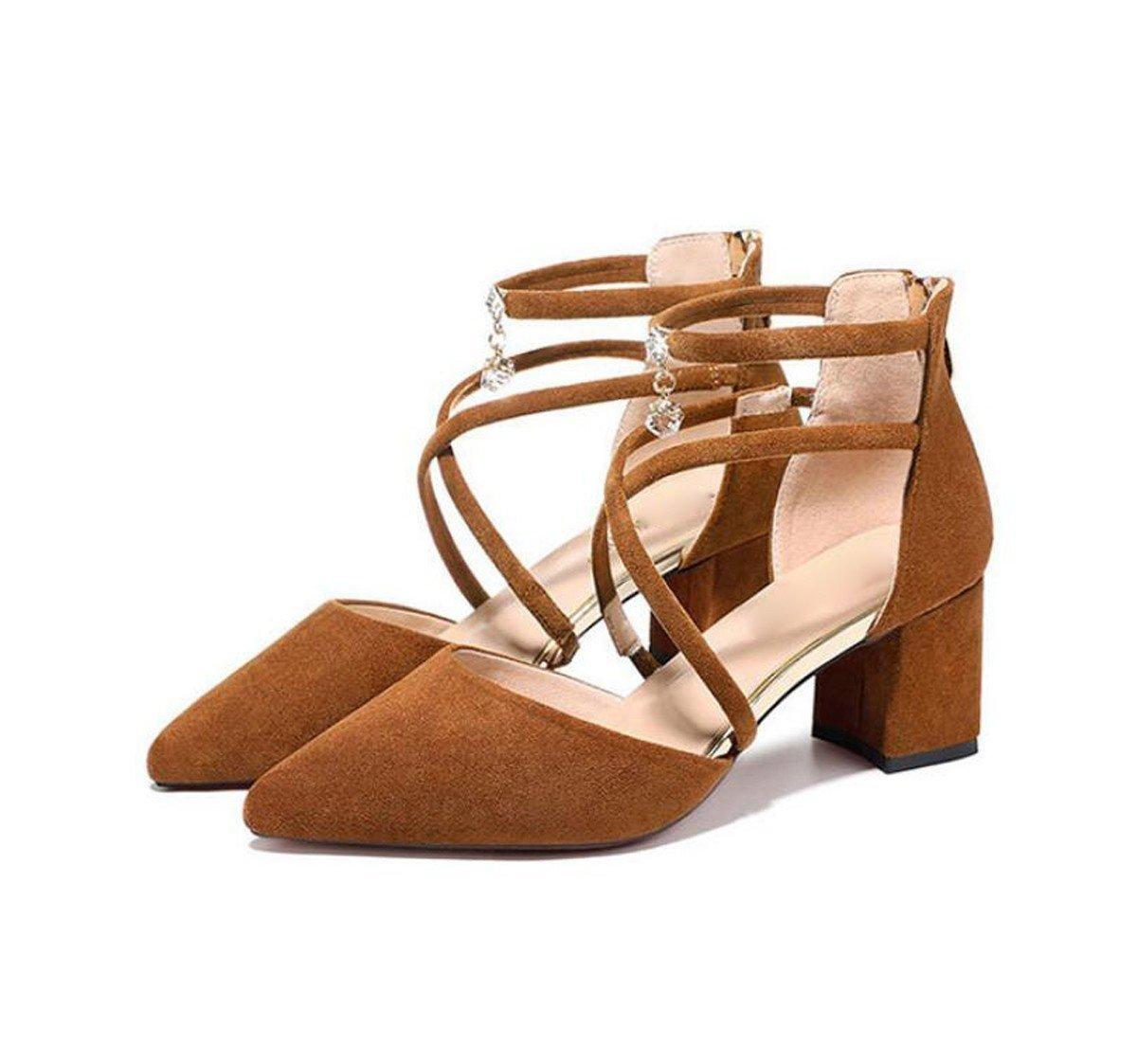 GTVERNH Damenschuhe Diamond 6 cm Hochhackigen Schuhe Baotou Sandalen Rau und Wild Überschreiten.