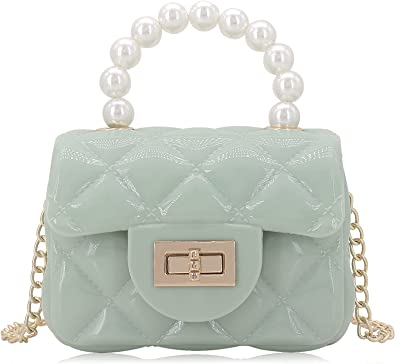 Mini Jelly Purse Flap Handbag with Pearls Top Handle Faux Quilted Crossbody Bag