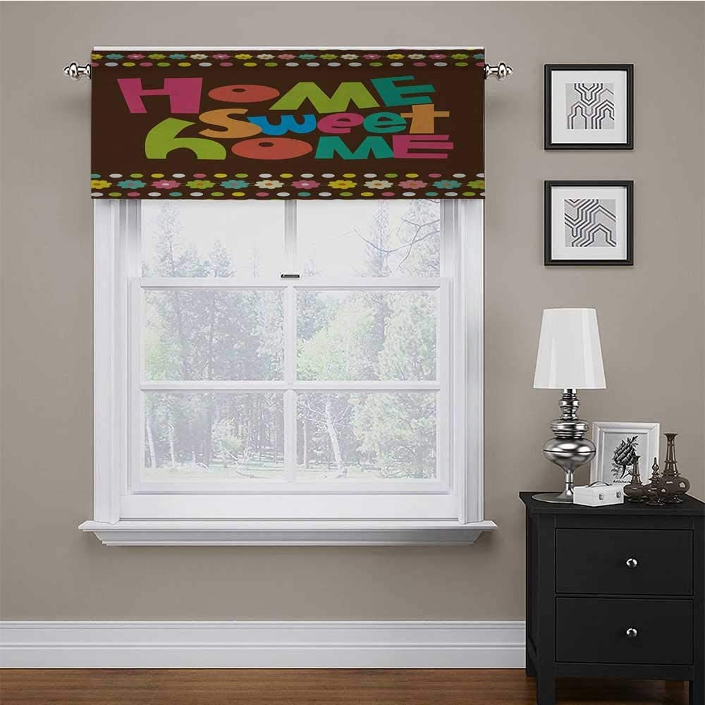 Kitchen Tier Curtains Home Sweet Home Light Blocking Valance Retro Cartoon Style Funky Colorful Letters and Floral Borders with Dots 56