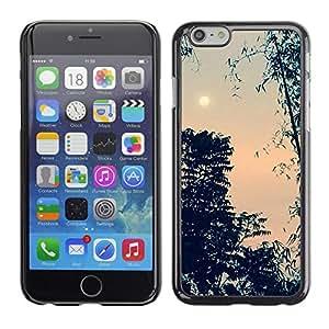 For Apple iPhone 6(4.7 inches) Case , Evening Sky Moon Trees Night - Diseño Patrón Teléfono Caso Cubierta Case Bumper Duro Protección Case Cover Funda