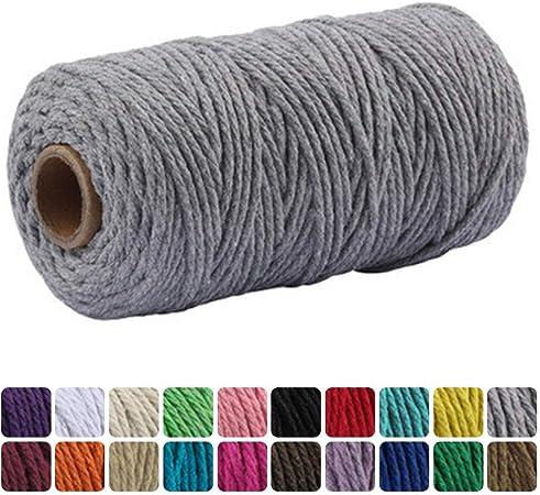 RAILONCH - Hilo de algodón de macramé 2 mm/3 mm x 100 m, cordón de algodón para ganchillo lavado, cordel, hilo textil para colgar plantas, adornos de pared, artesanía DIY, gris, 2mm:
