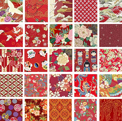 Red Asian Japanese Quilt Fabric Charms; 40-5 Inch Squares - Beautiful - Quilt Asian Fabric