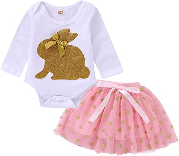 2 unids Body Baby Girl Outfit Cute Bunny Romper + Mesh Falda ...