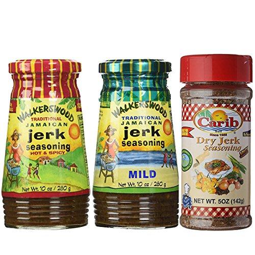 (Walkerswood Jamaican HOT & MILD Jerk 10oz with Dry Jerk 5oz Seasonings (Pack of 3))
