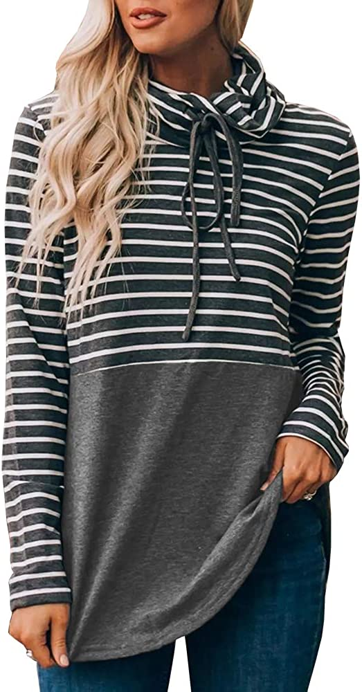 Ofenbuy Womens Sweatshirts Cowl Neck Striped Patchwork Drawstring Long Sleeve Casual Oversized Tunic Tops