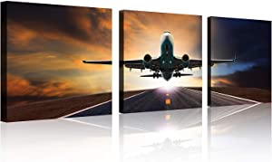 TutuBeer Vintage Airplane Wall Art Vintage Airplane Decor Airplane at Sunset Airplane Pictures Canvas Airplane Wall Art Stretched and Framed Aircraft Pictures Artwork for Home Decor,3 pcs/Set