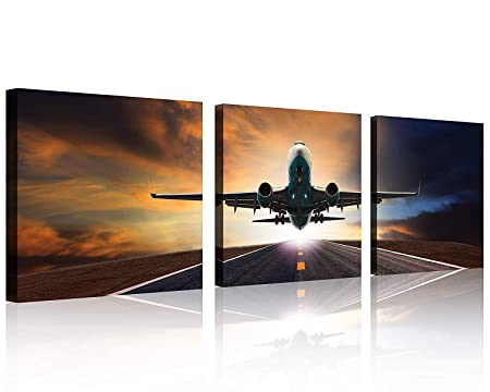 TutuBeer Vintage Airplane Wall Art Vintage Airplane Decor Airplane at Sunset Airplane Pictures Canvas Airplane Wall Art Stretched and Framed Aircraft Pictures Artwork for Home Decor,3 pcs Set