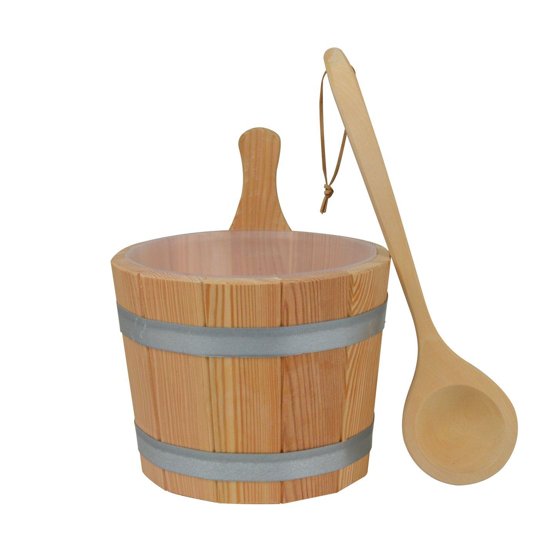 Set#610 sauna avec seau 3 piè ces en bois de mé lè ze, louche et insert en plastique Warda