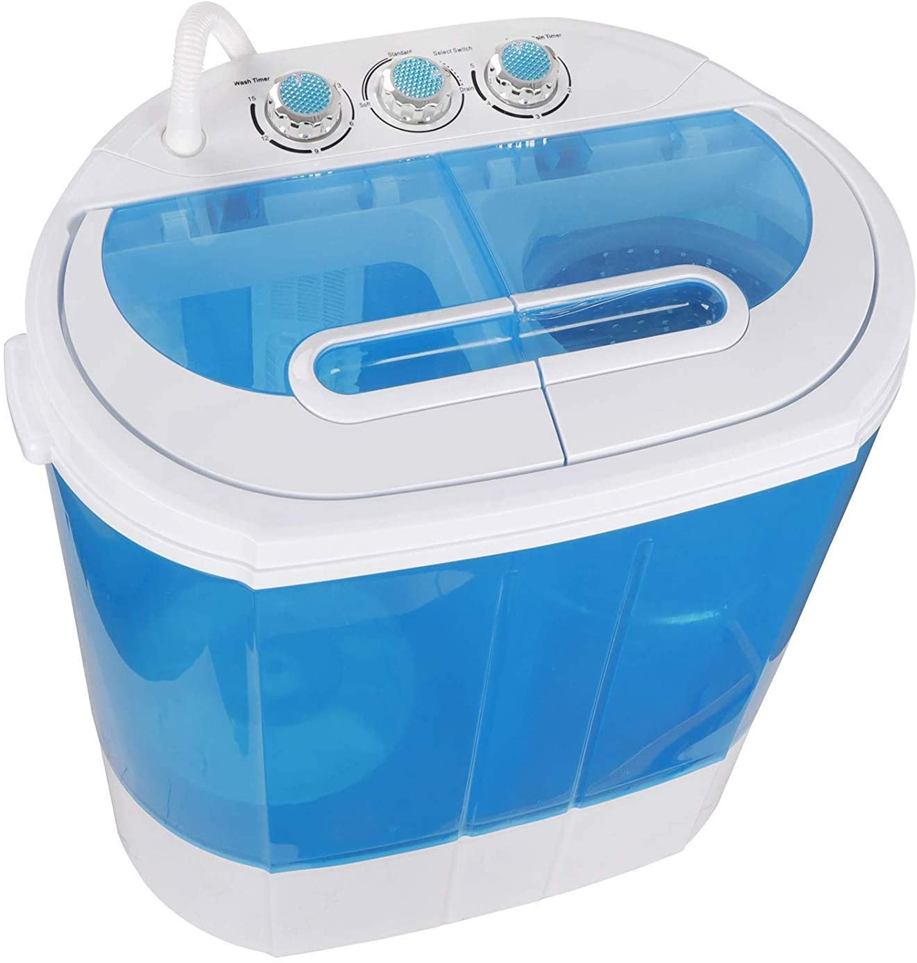 B07LBRGS48 HomGarden 10lbs Portable Washing Machine with Twin Tub Electric Compact Washing Machine Mini Laundry w/Washer&Spinner, Gravity Drain Pump and Drain Hose 71qZeRK3p-L.SL1500_