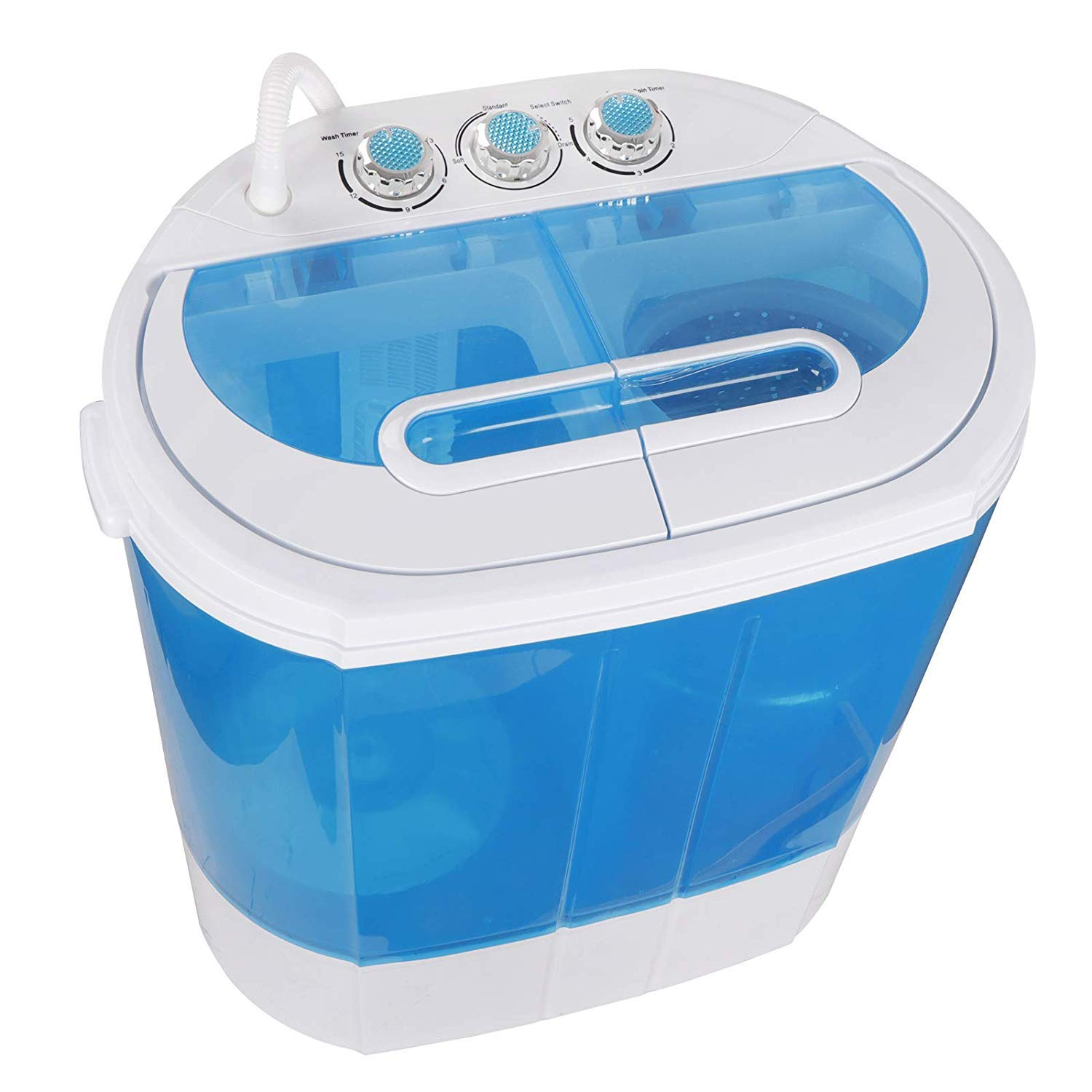 HomGarden 10lbs Portable Washing Machine with Twin Tub Electric Compact Washing Machine Mini Laundry w Washer Spinner, Gravity Drain Pump and Drain Hose