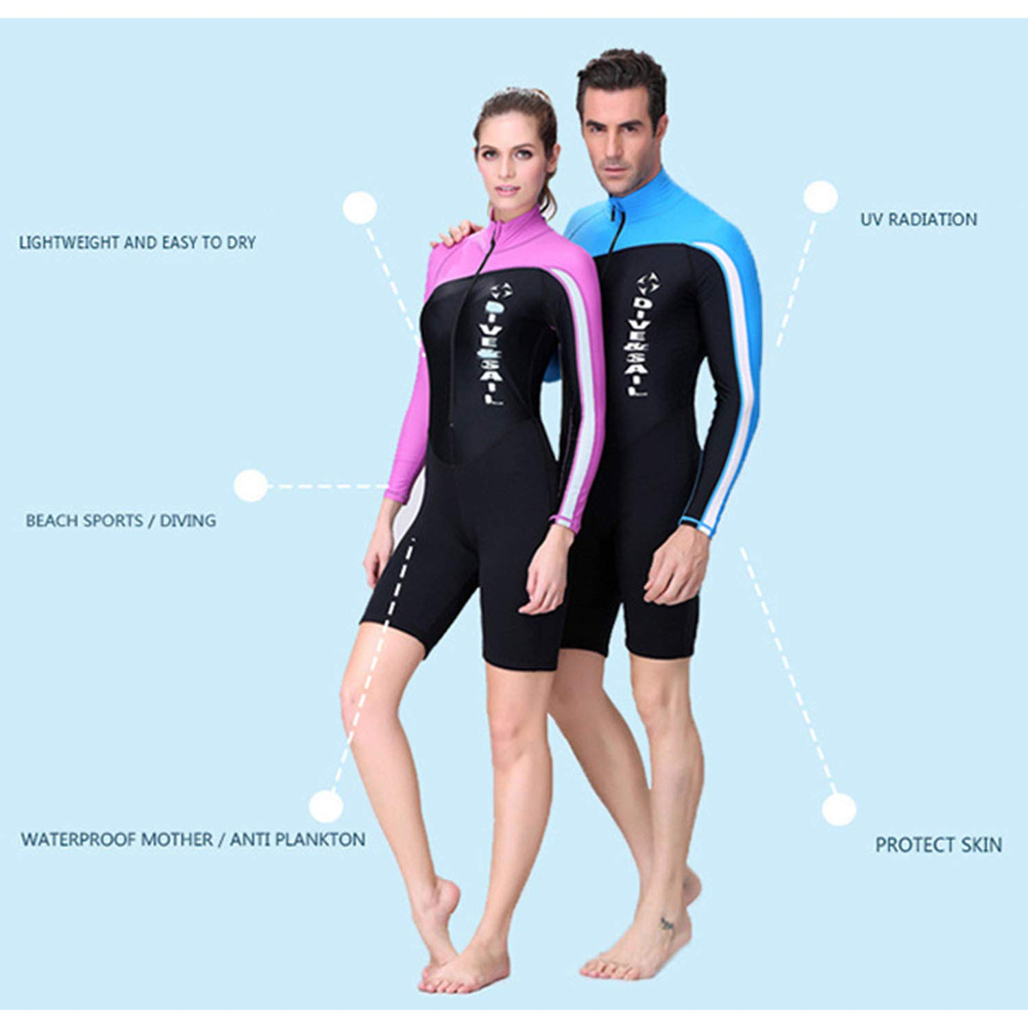 Men's UV Protection Wetsuits Zipper Snorkeling Lycra Skin Diving Surfing Suit Swimwear for Spring Summer Autumn XL - Blue by DIVE & SAIL (Image #4)