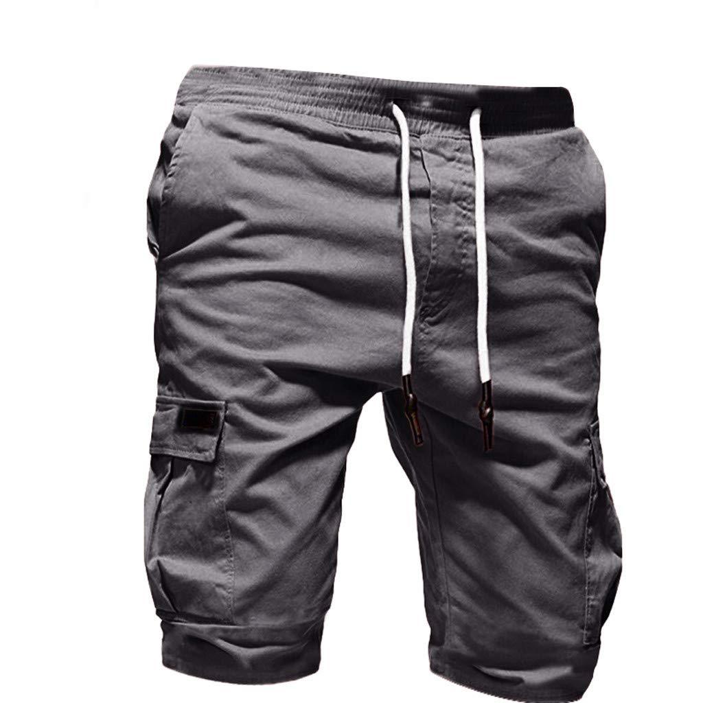 sweetnice Mens Short Pants Mens Casual Shorts,Summer Casual Sport Gym Drawstring Shorts Multi-Pocket Outdoor Cargo Pant