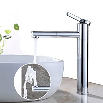 Badarmatur Hoch Einhebelmischer Wasserhahn Mischbatterie 360°Drehbar Auslauf DE