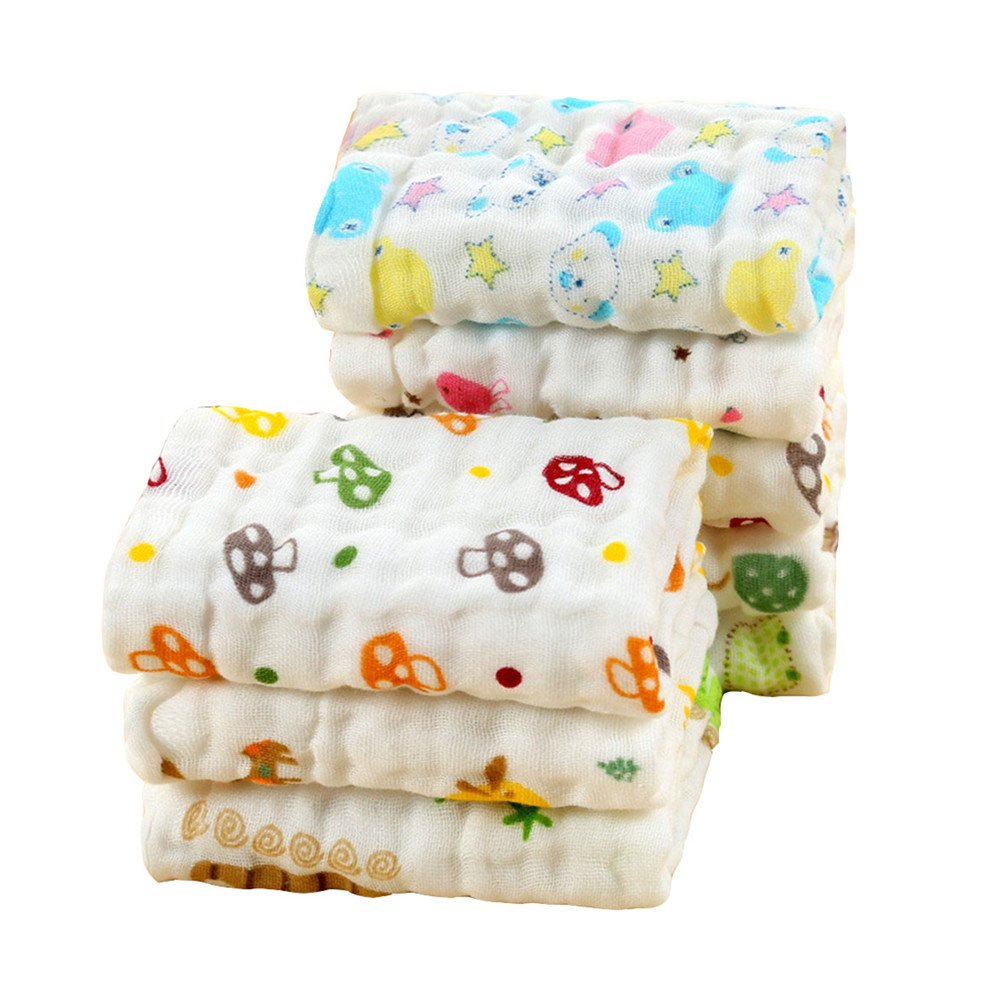 LOVARTS BEAUTY 4 Pcs/Lot Lindo dibujos animados 6 capas bebé algodón gasa muselina toallas de mano toallas: Amazon.es: Bebé