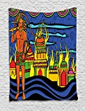 Ambesonne Psychedelic Tapestry, Ethnic Spiritual Faith Prince Eastern Tribal Ancient Oriental Bohemian Image, Wall Hanging for Bedroom Living Room Dorm, 60 W x 80 L Inches, Orange Blue