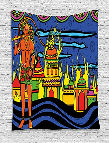 Ambesonne Psychedelic Tapestry, Ethnic Spiritual Faith Prince Eastern Tribal Ancient Oriental Bohemian Image, Wall Hanging for Bedroom Living Room Dorm, 60 W x 80 L Inches, Orange Blue by Ambesonne