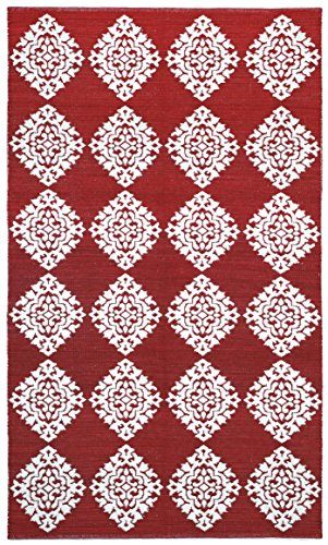 Jacquard Medallion Cotton Rug, Red, 5-Feet by 8-Feet