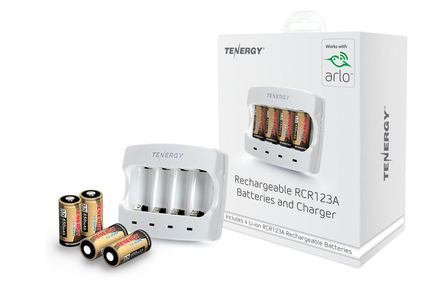 Arlo Certified: Tenergy 3.7V Arlo Battery Fast Charger and 650mAh RCR123A Li-ion Rechargeable Batteries for Arlo Wireless Security Cameras (VMC3030/3200/3330/3430/3530), UL UN Certified, 4-Pack