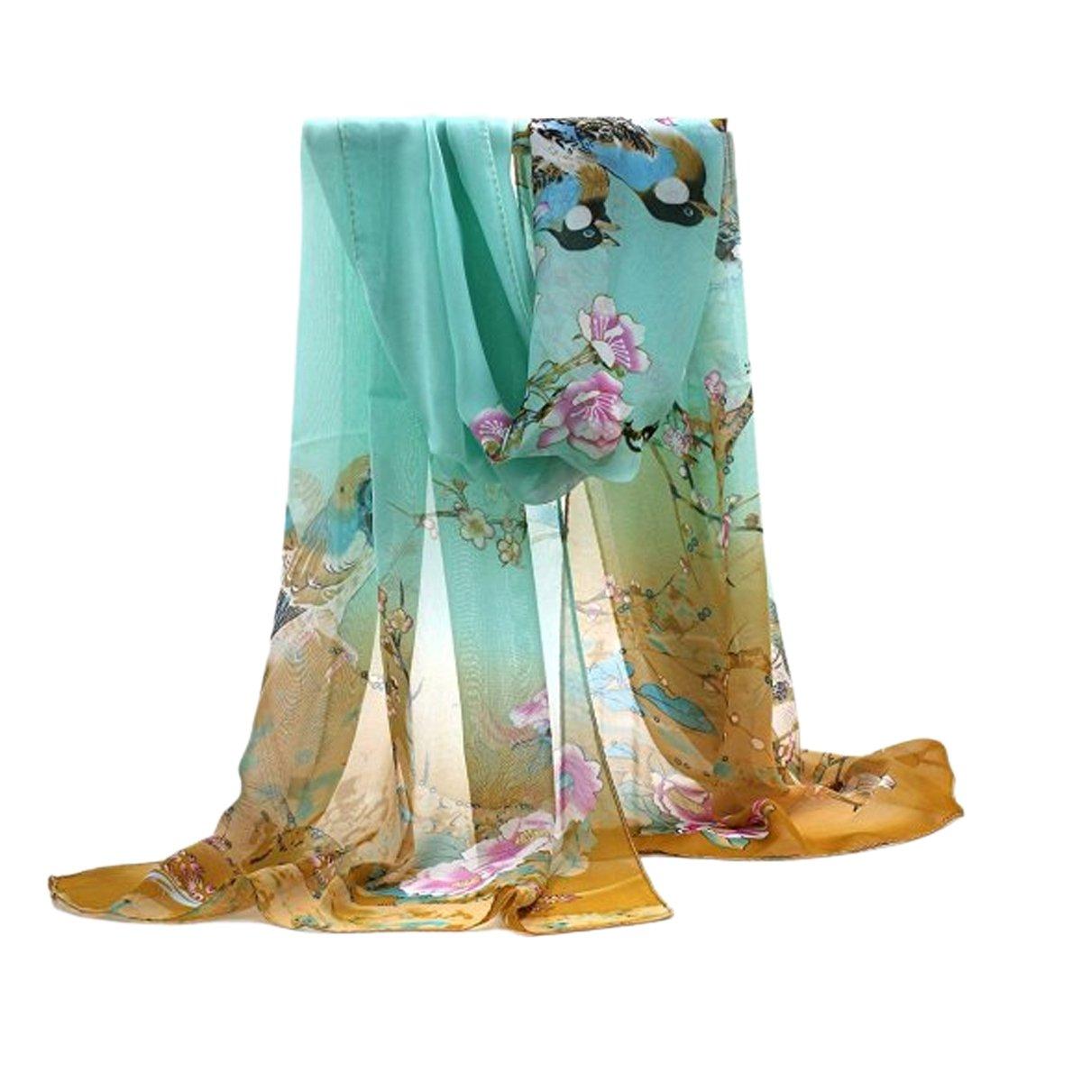 Butterme Donne di modo elegante chiffon lunga sciarpa collo scialle Sciarpe stole involucri con gazz...