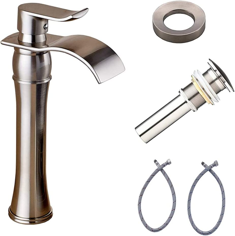 Waterfall Spout Tall Vessel Bathroom Sink Faucet Set Basin Mixer Tap Single