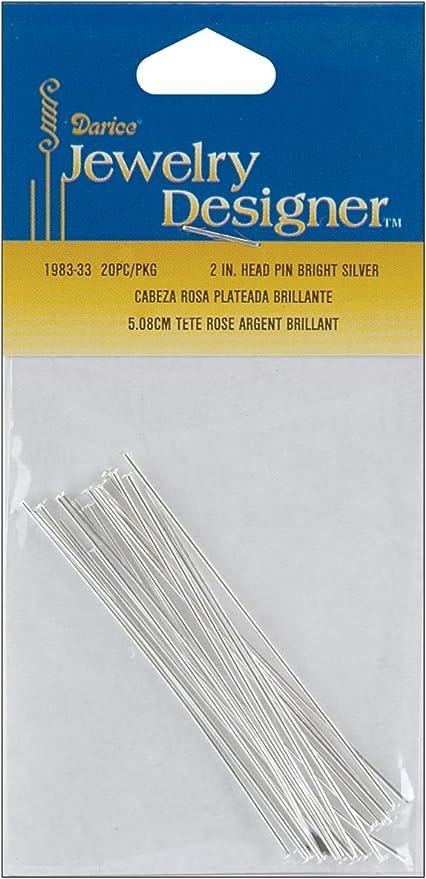 Jewelry Designer Slimpack Silver Metal Findings-2 Head Pin 20//Pkg