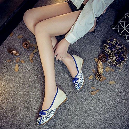 Broderie Bateau Ballerine Fleur Janes Icegrey Plat Fait Main Mary Femme Bleu Chaussures qnSvxTwXpx