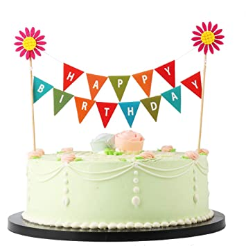 amazon com lveud red sun flower happy birthday banner cake topper