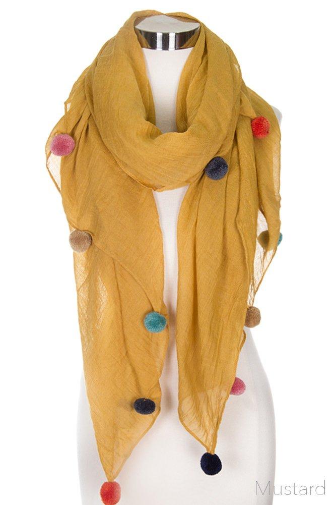 ScarvesMe Glamorous Fashion Light Weight Solid Pom Pom Oblong Scarf (Mustard)
