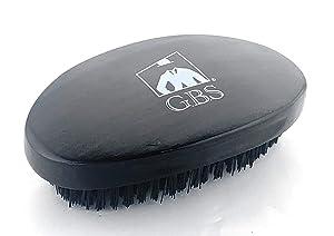"GBS Military Style Brush I Green Brush I 100% Natural Wooden Dual Men Hair Bristle Brush For Beard and Hair. 3"" x 5"" Oval Black Wood Finish Brush - Animal free Vegan Grooming"