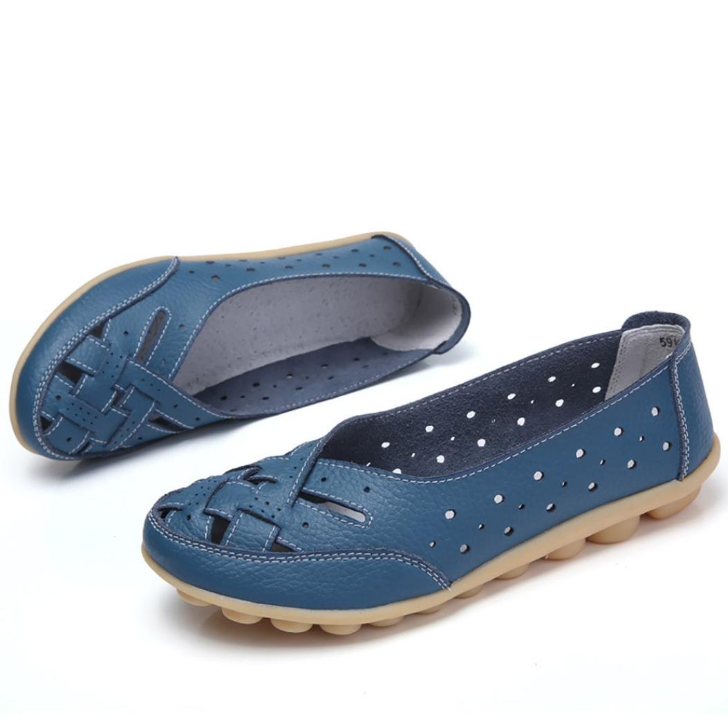 Igemy Frauen Runde Toe Schuhe, Dame Einfarbig Flache Sandalen Leder Knouml;chel Lauml;ssige Slipper Soft Schuhe  38 EU Blau
