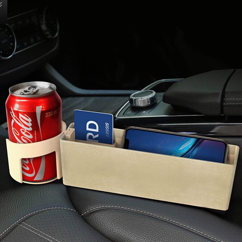 iSpchen Autositz Crevice Aufbewahrungsbox Autokonsole Seitentasche Sitz Auto Organizer mit Wasser Getr/änkehalter f/ür Telefon Karte M/ünzfach Schl/üssel Zubeh/ör