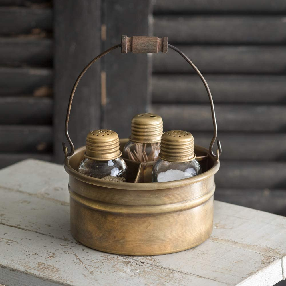 Attractive and Graceful Round Bucket Salt Pepper and Toothpick Shakers Caddy Set - Antique Brass. Rustic Farmhouse Table Decor, Vintage Home Decoration, Restaurants and Gift.