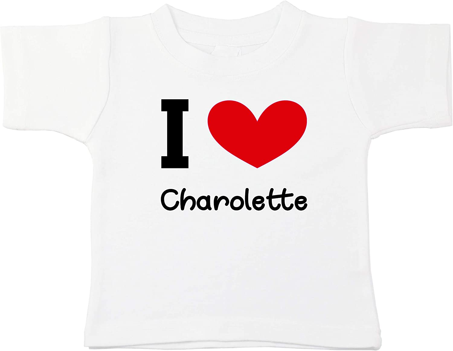 Kinacle I Love Charolette Personalized Baby//Toddler T-Shirt