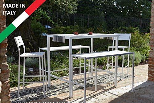 Juego Mesa alto Bar 120 x 80 con 2 bancos y 2 taburetes metal ...