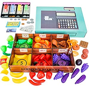 Farmers Market Color Sorting toys for toddlers with Play Food (132 pcs) by Jogo Jogo - Pretend Play store with toy cash register for kids with play money for kids, toy food, grabber & kids wallet game